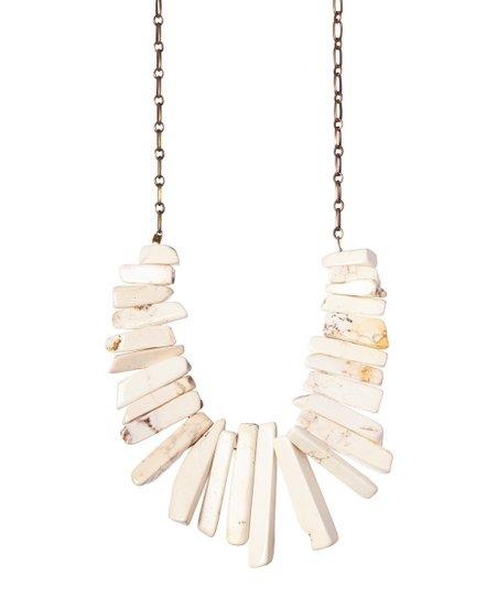 White Turquoise Spike Bib Necklace