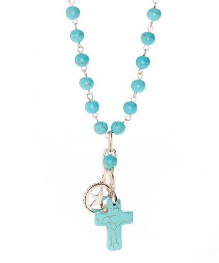 Turquoise Howlite & Silvertone Beaded Pendant Necklace