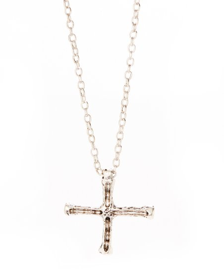 Silvertone Abstract Cross Pendant Necklace