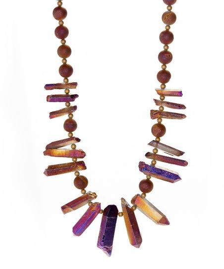 Magenta Quartz & Druzy Crystal Beaded Necklace