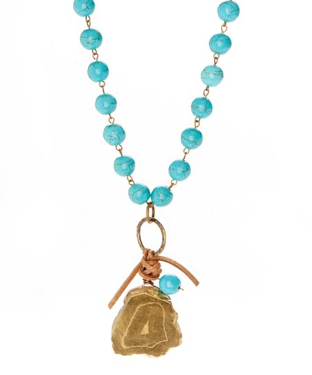 Goldtone Agate & Turquoise Howlite Beaded Pendant Necklace