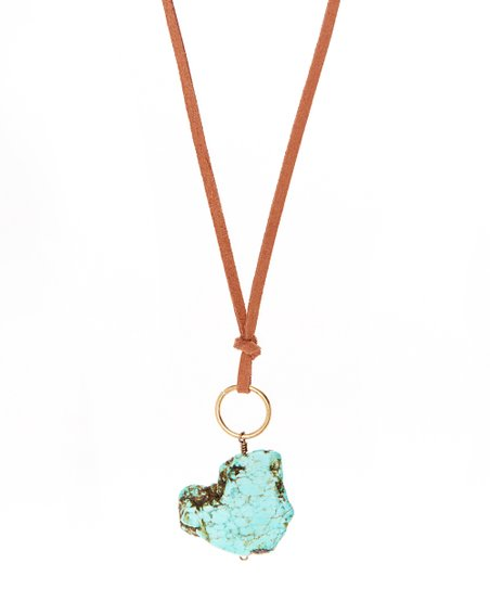 Turquoise Howlite & Brown Pendant Necklace