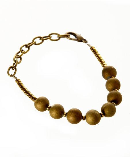 Goldtone Druzy Quartz Beaded Bracelet