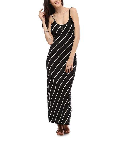 Black & White Diagonal Stripe Maxi Dress
