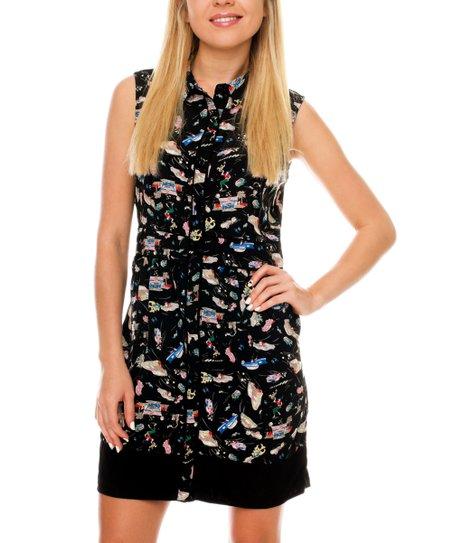 Black & White Automotive Shirt Dress