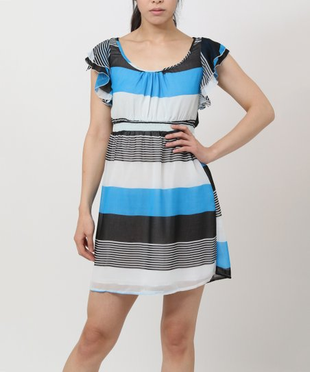 Blue & White Stripe Flutter-Sleeve Dress