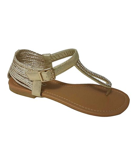 Champagne Glitter Strap Sandal