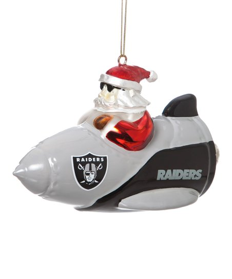 Oakland Raiders Santa Gets There Rocket Ornament