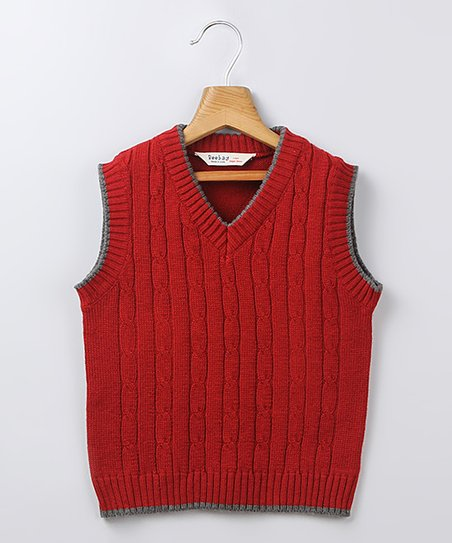 Boys Red Sweater Vest Red Cable-knit Sweater Vest