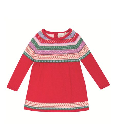Red Sweater Dress Toddler Red Fair Isle Sweater Dress
