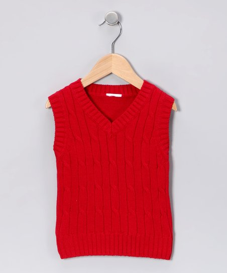 Boys Red Sweater Vest Red Cable Knit Sweater Vest