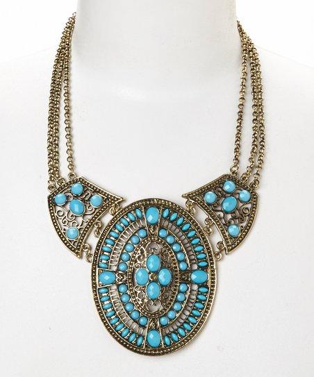 Turquoise & Goldtone Filigree Bib Necklace