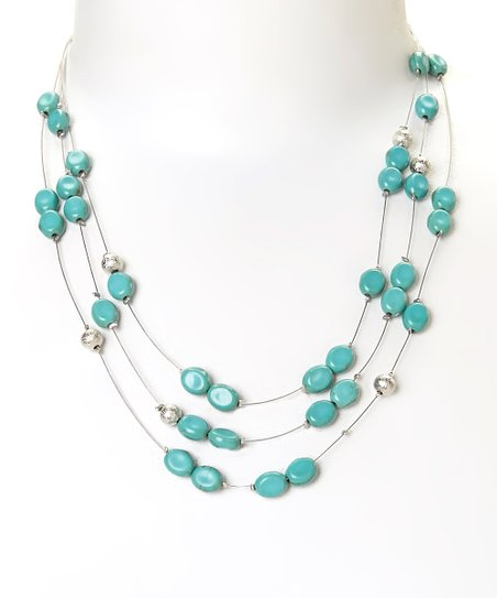 Turquoise & Silvertone Triple-Strand Bead Necklace