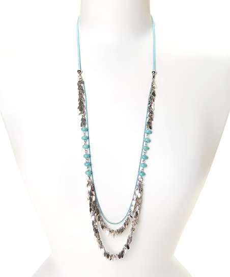 Silvertone & Turquoise Beaded Leaf Necklace