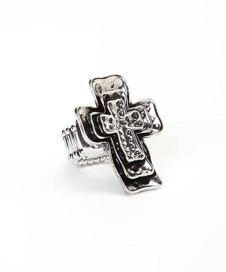 Silvertone Layered Cross Ring