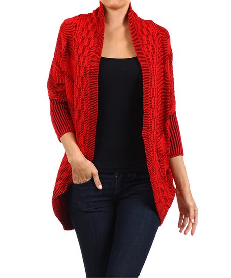Red Tribal Geo Knit Open Cardigan