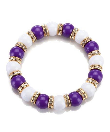 Purple & White La Ti Dottie Stretch Bracelet