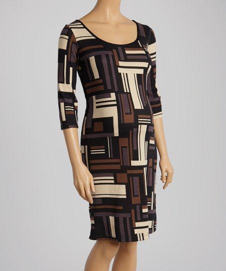 Black & Tan Geo Maternity Shift Dress