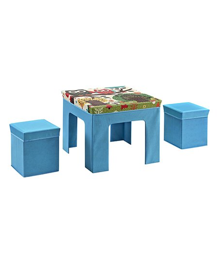 Folding Kids Table : Folding Kids Table & Ottoman Set