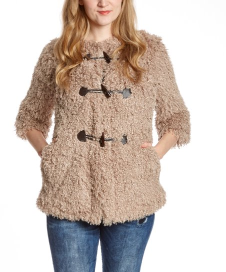 Taupe Faux Fur Toggle Coat