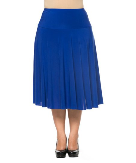 royal blue pleated a line skirt plus