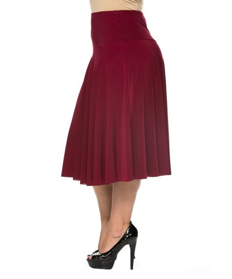 essential collection burgundy pleated a line skirt plus