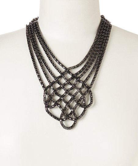 Gunmetal Crisscross Bib Necklace