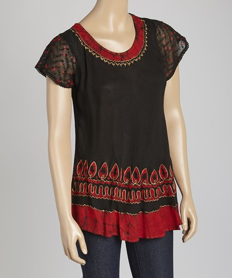 Black & Red Tie-Dye Embroidered Scoop Neck Top