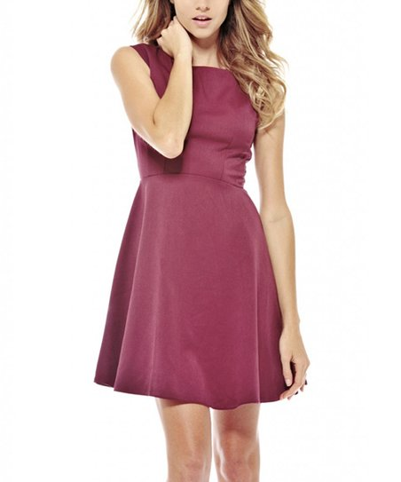 Burgundy Cap-Sleeve Fit & Flare Dress