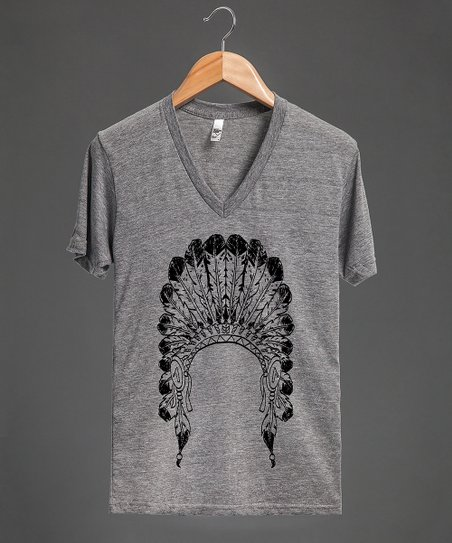 Gray & Black Headdress V-Neck Tee