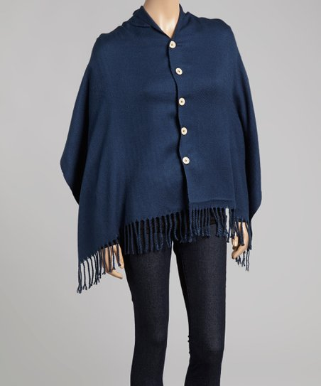 Blue Fringe Button-Up Poncho