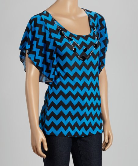 Black & Blue Chevron Dolman Top & Necklace