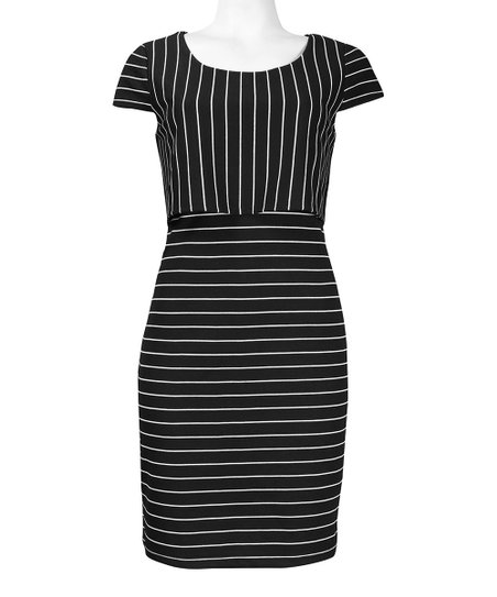 Black & White Stripe Cap-Sleeve Dress