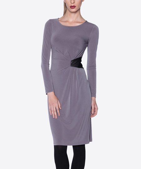 Mink & Black Long-Sleeve Dress