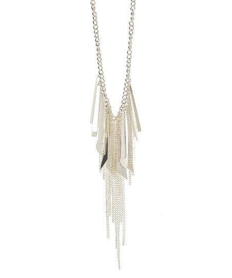 Silver Metal Fringe Bib Necklace