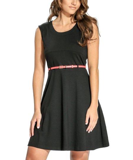 Black Belted Sleeveless Skater Dress - Petite