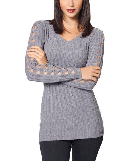 Gray Cutout Sleeve V-Neck Top