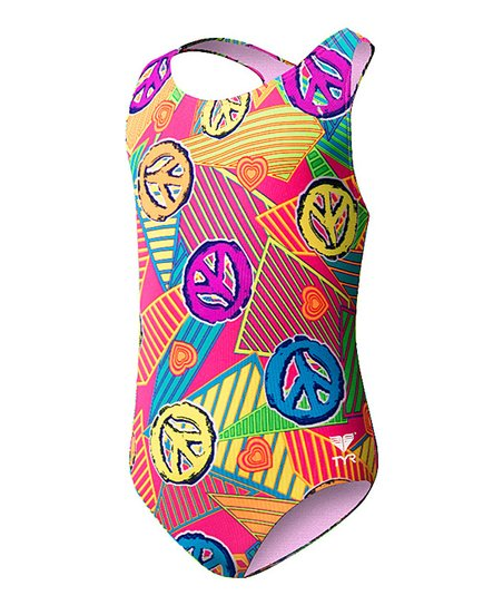 Pink Peace Love Swim Mini Maxfit One-Piece - Girls