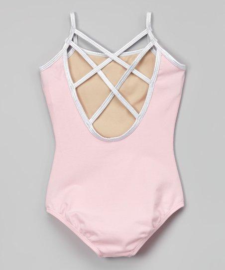 Pink & Silver Crisscross Back Leotard - Toddler & Girls