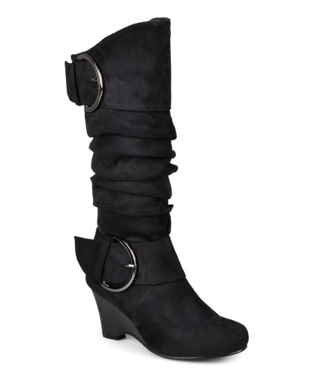 journee collection black irene wide calf wedge boot zulily