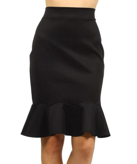 one fashion black peplum pencil skirt zulily