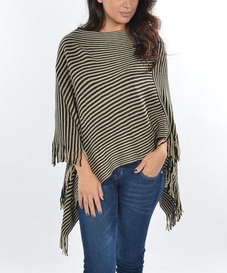 Black & Mocha Stripe Poncho