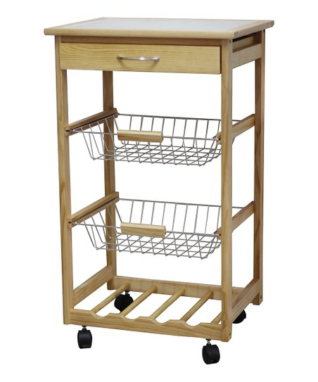 Pinewood wine rack kitchen cart