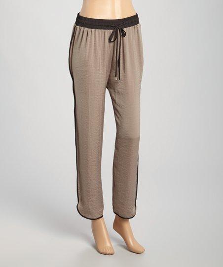 Mocha & Black Drawstring Lounge Pants