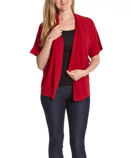 Red Ribbed Open Front Cardigan