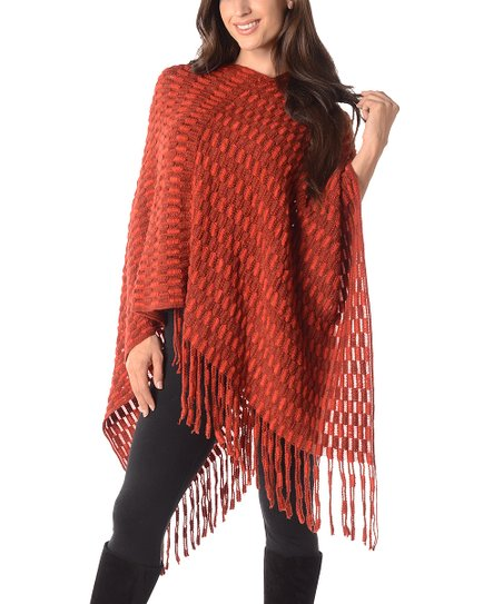 Diva Designs Rust Rectangle-Knit Poncho - Plus zulily