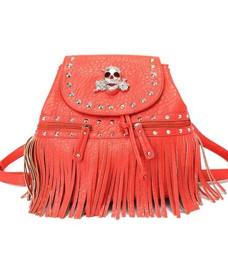 Firebrick Skull & Studs Fringe Backpack