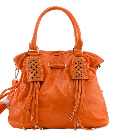 Orange Fringe Deco Tote