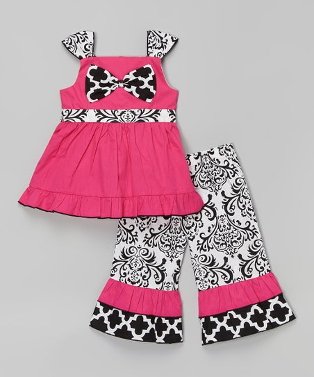 Pink & Black Alexis Tunic & Pants - Infant, Toddler & Girls