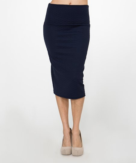 bold beautiful navy mini quilted pencil skirt